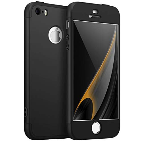 Funda iPhone 5/5S/SE Cubierta 360 Grados Caja protección de cáscara Dura Anti-Shock Anti-rasguño del Protector Completo del Cuerpo 360°Caso Mate(Negro)