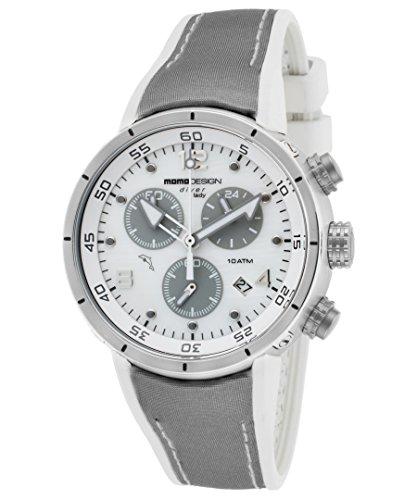 Momo Design Md2205ss-31 Diver Pro Chrono - Reloj de pulsera para mujer con esfera blanca satinada y gris