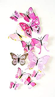 Set 12PCS 3D Butterfly Wall Stickers Decoration,Pink