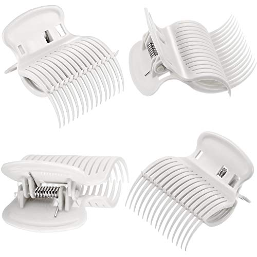 12 Pieces Hot Roller Clips Hair Curler Claw Clips Replacement Roller Clips for Women Girls Hair Section Styling(White)