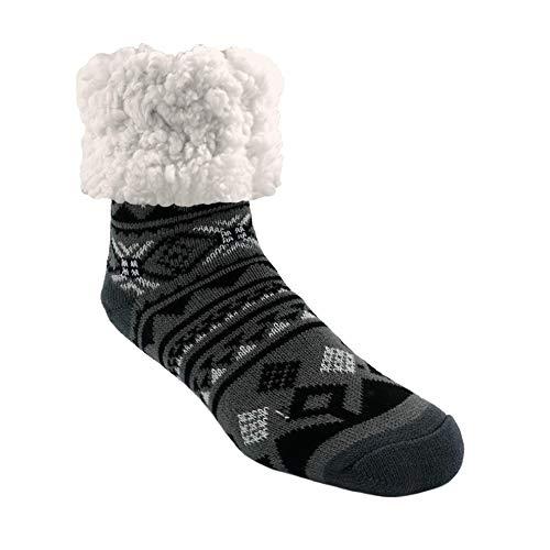 Pudus Classic Slipper Socks, Adult Geometric Black, One Size