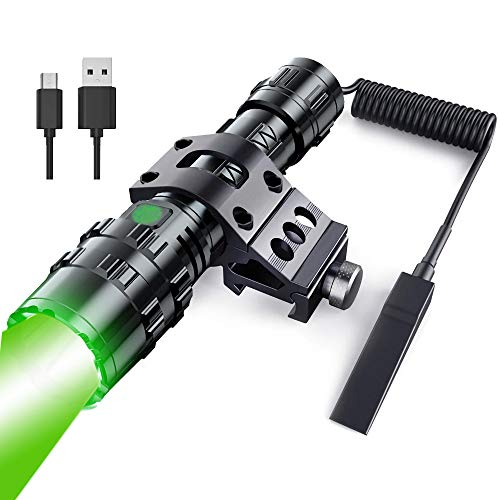 POVAST Picatinny Rail Tactical Flashlight Green Light with Offset Mount and Pressure Switch, Battery Included, Hog Coyote Hunting