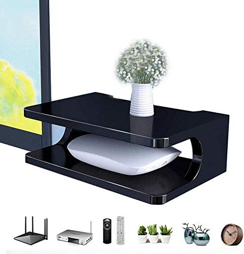 GIOAMH Organizador de caja de alambre, estante para componentes de TV Mini Hover, consola multimedia montada en la pared, 2 niveles, fácil de limpiar, estantes de almacenamiento de caja de cable/en