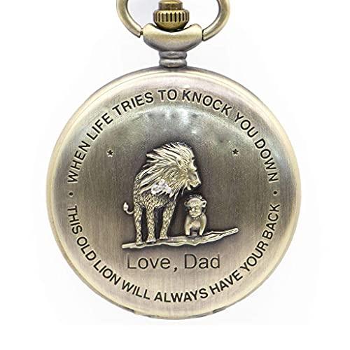XXCHUIJU Diseño Antiguo de Bronce diseño de patrón de león de Hombre Reloj de Bolsillo de Cuarzo con Collar Cadena Mejor Regalo para niños