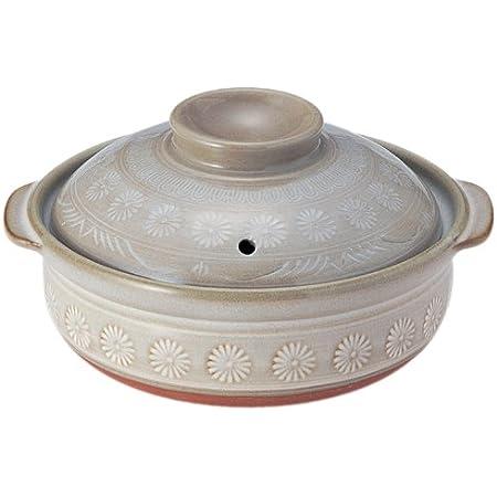 銀峯陶器 萬古焼 土鍋 (深鍋) 5号 1人用 花三島 21051