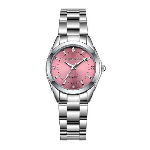 Mujer Relojes, L'ananas Clásico Elegante Diamante de imitación Acero Inoxidable Correa de Reloj Cuarzo Relojes de Pulsera Women Watches Wristwatches (Plata+Rosa)