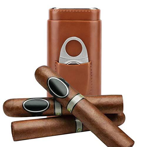 Garosa Reise-Zigarrenetui aus Leder, mit Zedernholz, gefüttert, 3 Röhren, mit Ständer aus Edelstahl braun