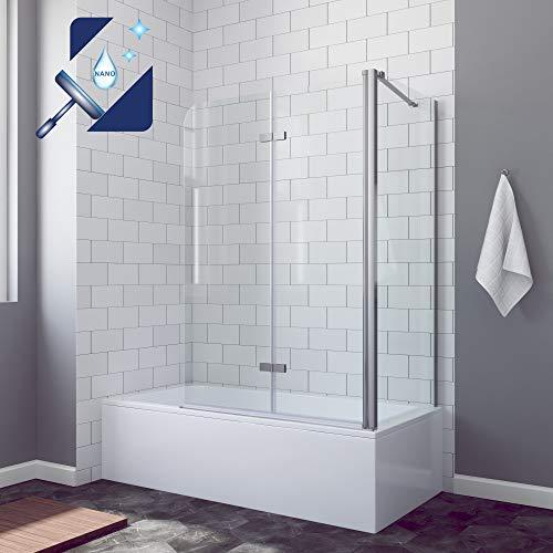 AQUABATOS® Eck-Duschtrennwand Duschwand für Badewanne faltbar Badewannenaufsatz 120x140cm mit Seitenwand 70x140cm aus 5mm ESG Sicherheitsglas Nano-Beschichtung