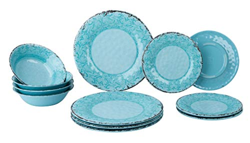Gimex 12 teiliges Geschirr Set Stone Line Sand-Azur-Opale Campinggeschirr mit Antislip Melamin (Opale)