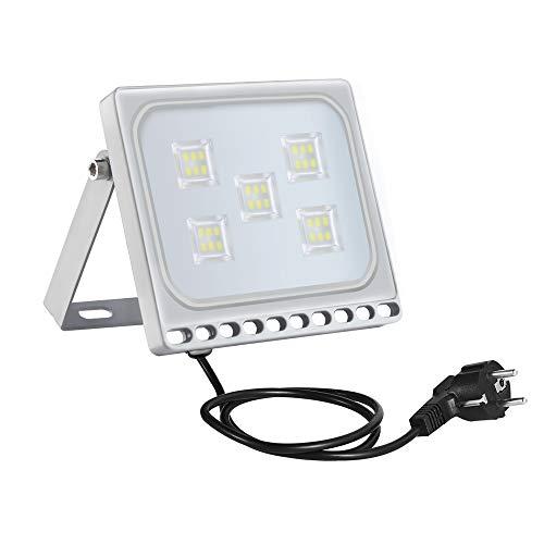 30w Foco Proyector LED Ultra Plano para exterior, Floodlight con SMD2835 LED Bombilla de luz Fría, IP67 Impermeable, Enchufe Contenido, 2550lm