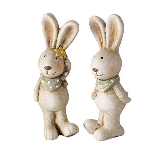 CasaJame Juego de 2 figuras de conejos de Pascua, decoración de Pascua, de terracota, altura de 15 cm