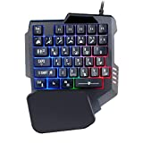 TunTenDo One Handed Gaming Keyboard RGB Backlit Programmable 35 Keys Portable Mini Gaming Keypad Ergonomic Game Controller for PC PS4 Xbox Gamer