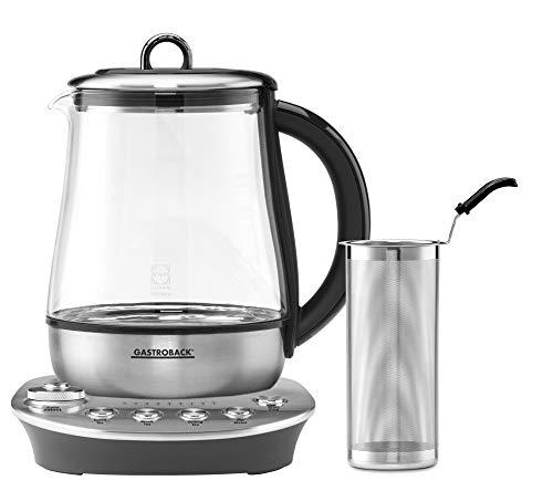 Gastroback 42434 Design Tea Aroma Plus - Hervidor de agua, tetera automatica, 8 programas de te (60 – 100 °C) recipiente de cristal de 1,5 litros, 1400 W, cristal, plata, negro
