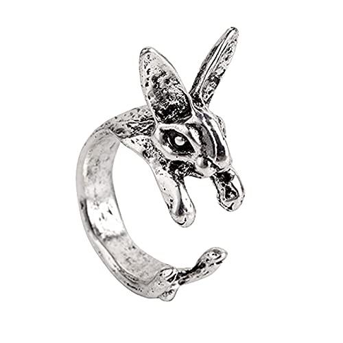 Younoo1 - Anillo de conejo para mujer, moderno, plata 925, diseño de conejo, ajustable, para mujer