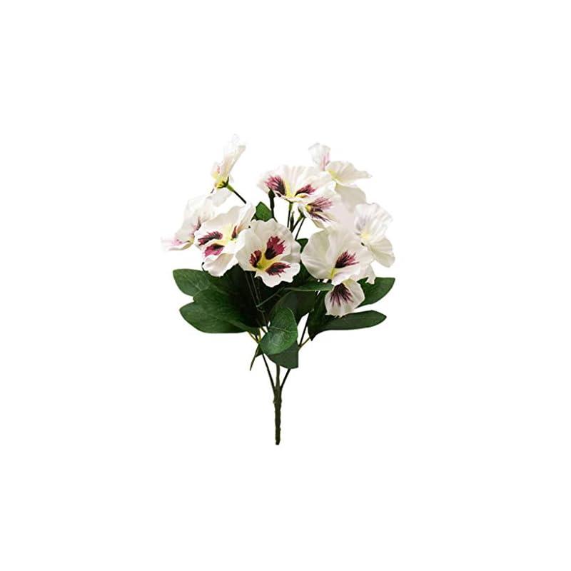 silk flower arrangements dserw artificial flower,1pc artificial flower pansy garden diy stage party home wedding craft decoration - white