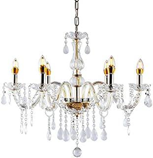 HomeLava Lámpara de araña Lámpara de Techo de Cristal con 6 Luces Diámetro de 58 cm para Salón, Comedor, Habitaciones,Hotel y Bar