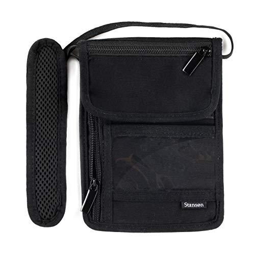 Stansøn® Brustbeutel, Brusttasche aus Canvas | Reiseorganizer mit RFID Schutz Blocker für Damen & Herren | Reisedokumententasche, Reisegeldbeutel, Umhängegeldbeutel für Handy & Reisepass (Schwarz)