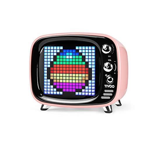 Divoom, Tivoo, Altoparlante Bluetooth Dotato Di Schermo LED RGB a 256 Colori, Rosa