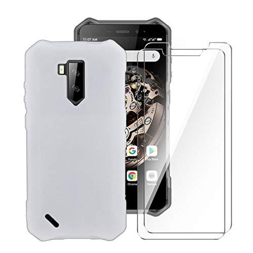 LJSM Hülle für Ulefone Armor X5 + [2 Stück] Panzerglas Bildschirmschutzfolie Schutzfolie - Semi-Transparent Weich Silikon Schutzhülle Flexibel TPU Tasche Hülle für Ulefone Armor X5 (5.5