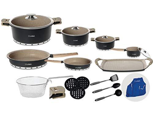 Betería de cocina de granito natural Deluxe - 23 piezas- Erikachef