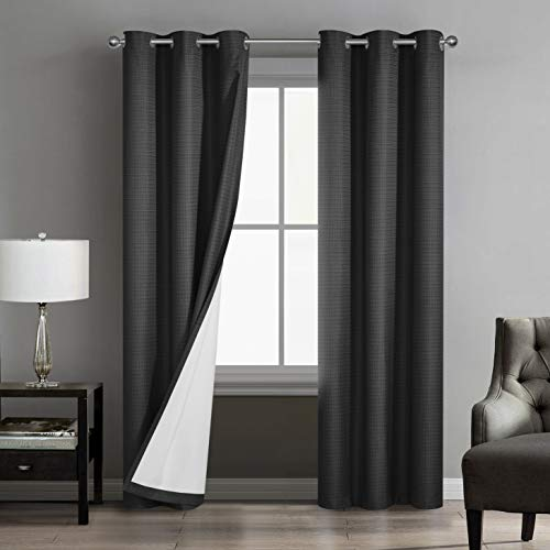 """Sunclipse Foley Solid Darkening Grommet Window Curtain Drapes for Bedroom/Living Room/Kitchen/Bathroom, Light and Noise Reducing Thermal Insulated (2 Panels, Each 42"""" W x 63"""", or 84"""" L), 42x84, Black"""