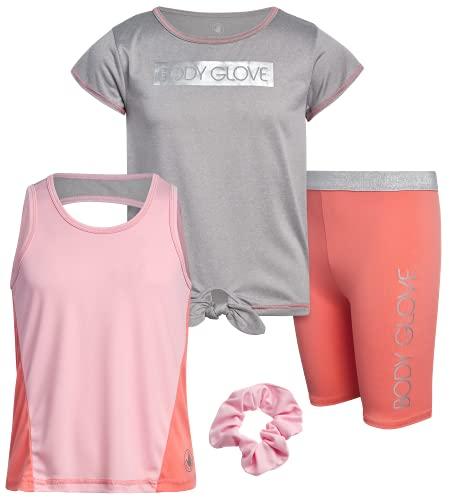 Body Glove Girls' Active Shorts Set - 3-Piece T-Shirt, Tank Top, Bike Shorts, Size 8, Coral/Grey