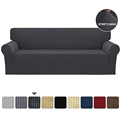 SKARLES Stretch Sofa Slipcover 1-Piece Soft Couch Cover Non Slip Washable with Elastic Bottom Protector for Kids, Cats, Dogs, Spandex Jacquard Fabric Small Checks(Sofa,Dark Gray)