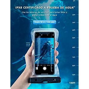 Mpow Funda Impermeable Universal-2 Unidades, Bolsa para Móvil Estanca a Prueba de Agua IPX8 para iPhone XS MAX/XR/XS/X/8/ 8plus/7 Samsung Galaxy s9+/S10Plus / S10 Huawei P30 Pro / P30, Pantalla táctil