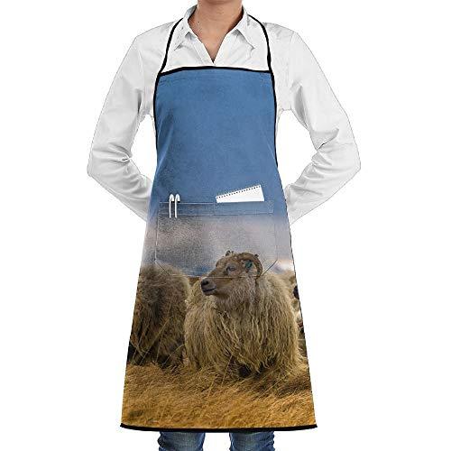 N / A Delantal Personalizado Chefs Delantal De Cocina Delantal Cocina BBQ Delantales De Jardinería África Delantal De Borrego Cimarrón Salvaje Delantales De Chef Premium 52X72Cm