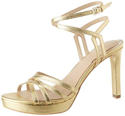 Guess Damen Beachie/Sandalo Leath Sandale mit Absatz, Gold, 41 EU