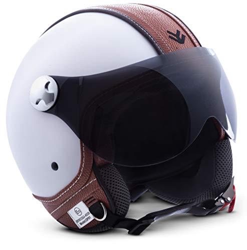 "Armor · AV-84 ""Vintage Deluxe White"" (white) · Casco moto Demi Jet · Scooter Retro Urbano Helmet Urban motocicleta · ECE certificado · Visor · Click-n-Secure™ Clip · Bolsa de transporte · XS (53-54cm)"