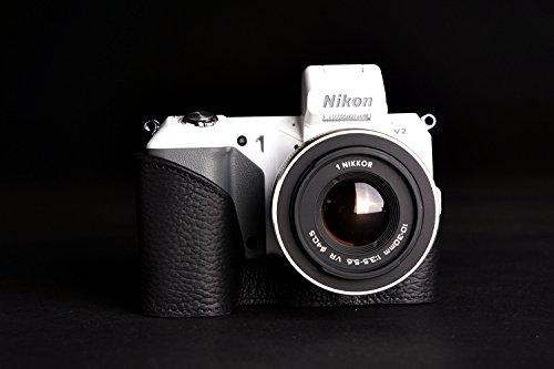 ニコン Nikon 1 V2用本革カメラケース&バッテリーケース付ストラップ 各種カラー (カメラケース&ストラップ&バッテリーケース, ブラック)