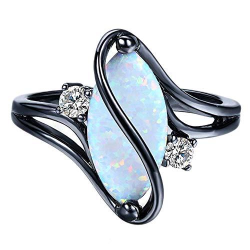 Purmy Damen Ring Schwarzes Gold überzogen Weiß Opal Mode Design Einzigartig Oval Opal Größe 57 (18.1)