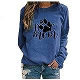Gkojhj Sudadera Sin Capucha para mujer Camiseta casual de suéter con estampado de pata de perro Otoño y Invierno suelta con cuello redondo y manga larga Tops blusas Básico Sweatshirt jersey