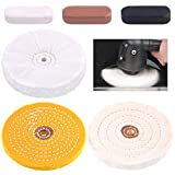 """Swpeet 6Pcs 6 Inch Buffing Polishing Wheels with 3 Colors Polishing Compounds Kit, Including Flannel (30 Ply), Cotton (40 Ply), Yellow Buffing Wheel (30 Ply) Polish Pad with 1/2"""" Arbor Wheels"""