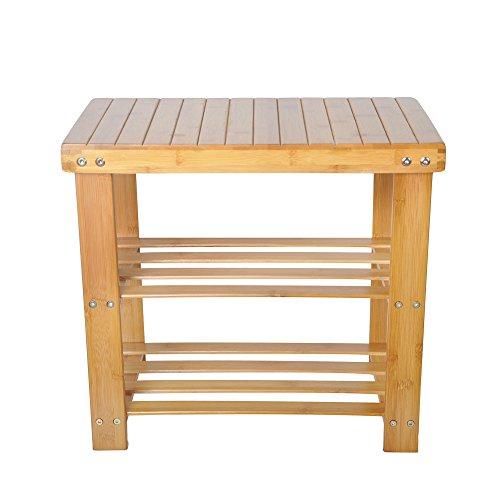 LUCKYERMORE 2-Tire Shoe Rack Bench Seat Entryway Storage Shelf Bamboo Shoes Rack Small