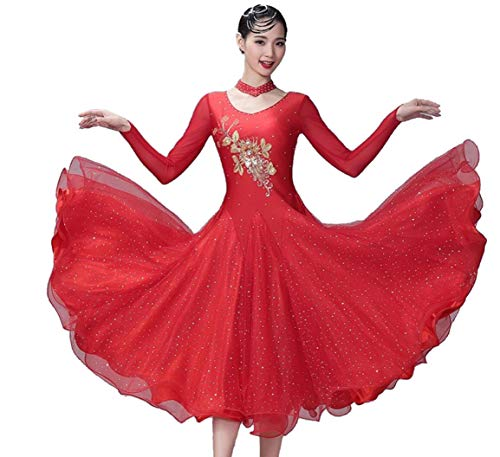 ZYLL Mujeres Moderno Vals Tango Vestido,Vestido de salón estándar Ropa de Manga Larga para Baile de salón Mujeres Moderno Vals Tango Baile Traje de Rendimiento Gran Columpio