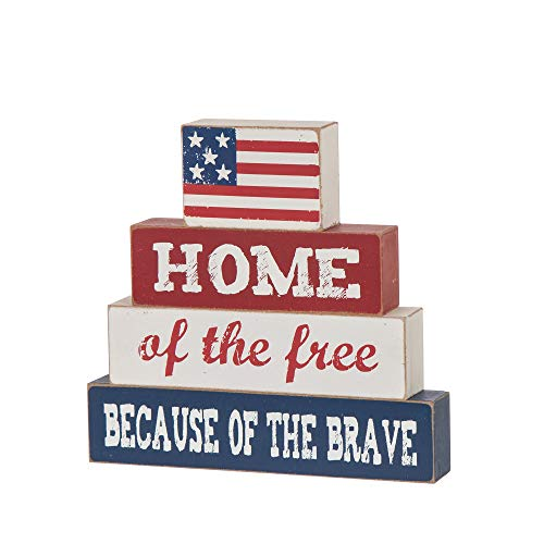 """Glitzhome Patriotic American Flag Wooden Block 8""""H Distressed Home of The Free Because of The Brave Patriotic Wood Sign Home Decor Farmhouse Wood Block Independence Day Table Decor"""