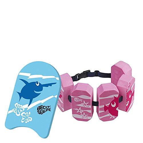 Beco Sealife Schwimmbrett mit Schwimmgürtel blau/pink Wassersport Kinder Aqua