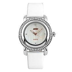 Simple Temperament Waterproof Quartz White Watche With Rhinestones