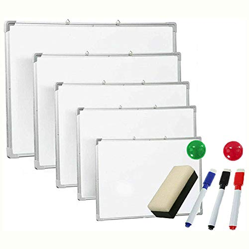 Pizarra blanca magnética de 50 cm x 35 cm, pizarra blanca con borrado en seco, pizarras blancas, pequeñas, medianas y grandes, borrador e imán para oficina, escuela, hogar