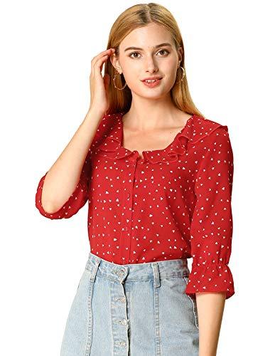 Allegra K Women's Heart Blouse Top Polka Dots Button Down Lapel Collar Half Sleeve Ruffled Shirt S Red