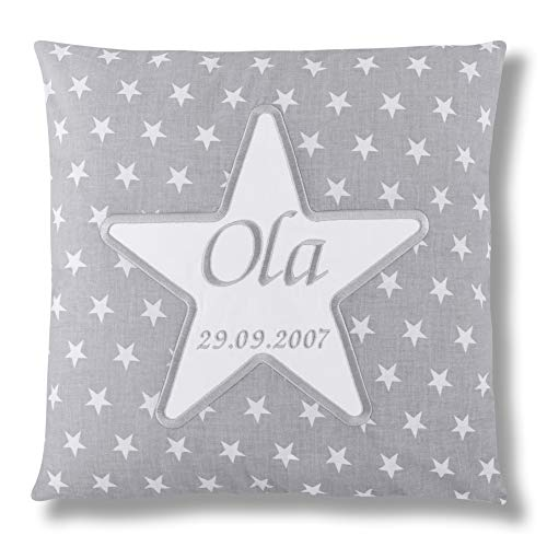 Amilian® Kissen 40 x 40 cm mit Namen Datum STAR M08