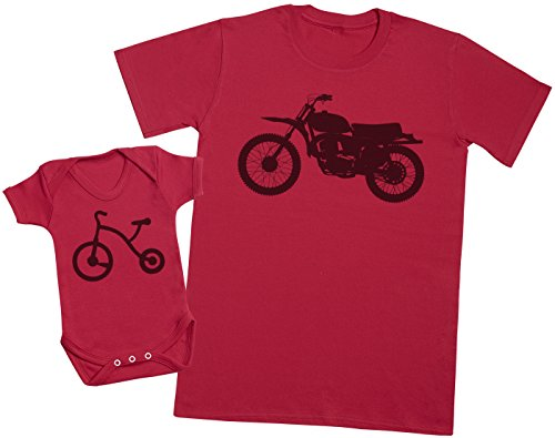 Zarlivia Clothing Trike and Motorbike - Ensemble Père Bébé Cadeau - Hommes T-Shirt & Body bébé - Rouge - M & 18-24 Mois