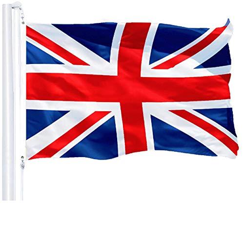 G128 Drapeau Royaume-uni (British, Union Jack) | 3x5 Pieds | imprimé 150d - intérieur/extérieur, Polyester qualité, Beaucoup Plus épaisses Plus Durable Que 100d Polyester 75d
