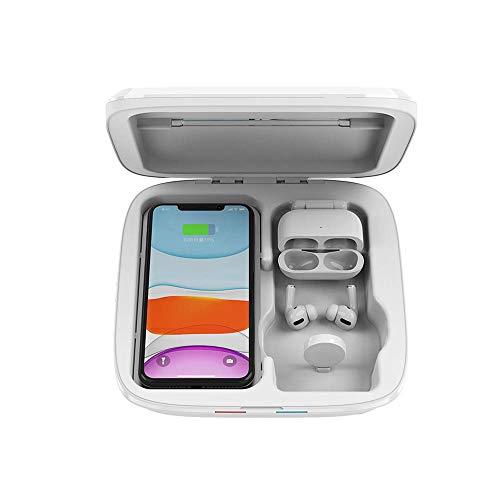Sterilisator voor mobiele telefoon, 4-in-1 multifunctionele uv-sterilisator-box lamp mobiele telefoon USB-oplader uv-sterilisatiebox wit
