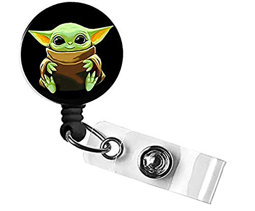 Retractable Badge Holder Reel for Baby Yoda, ID Name Card Badge Holder with Swivel Alligator Clip, Cute Nurse Badge Holder, Office Employee Name Tag (Black)