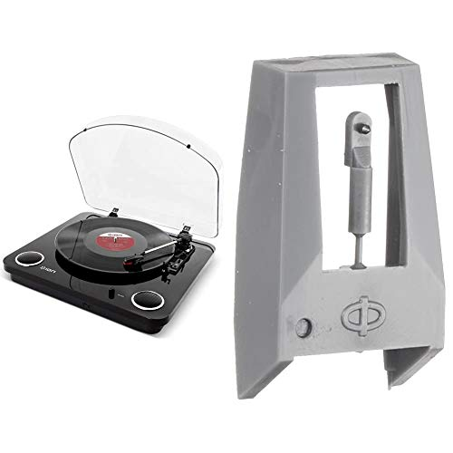 ION Audio PT01-RSSP Record Player, USB Port, Built-in Speaker, Max LP BK, Piano Black & Replacement Needles, For LP Series