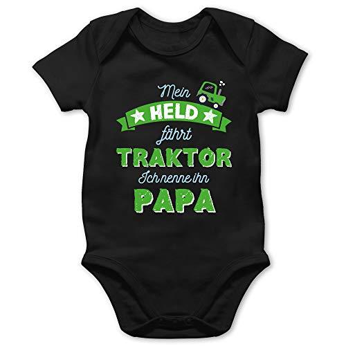 Vatertagsgeschenk Tochter & Sohn Baby - Mein Held fährt Traktor Papa - 1/3 Monate - Schwarz - schmusedecke Baby Junge - BZ10 - Baby Body Kurzarm für Jungen und Mädchen