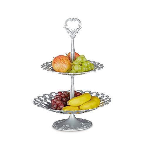 Relaxdays Serviteur à gâteaux présentoir à fruits étagère en aluminium avec poignée 2 étages service fruit dessert amuse-gueule apéritif métal, gris argenté 44 x 31 x 31 cm